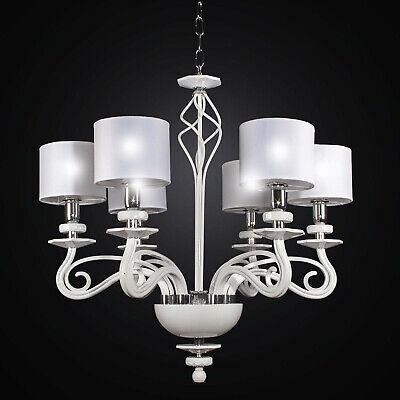 Lámpara de Araña Moderna de Cristal Blanco A 6 Luces Bga 2376-6