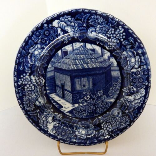 Rowland Marsellus Floral and Fruit Border Flow Blue Plate with Hexagon Building