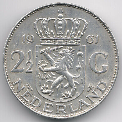 Netherlands : 2 1/2 Gulden 1961 Silver