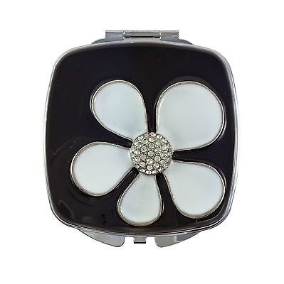Compact Mirror, Flower Power Square with Swarovski Crystals & Leather Pouch Swarovski Crystal Flower Makeup