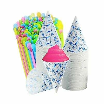 400-200 Snow Cone Cups 6 Oz. 200 Sno-cone Spoon Drinking Straws Neon Colors