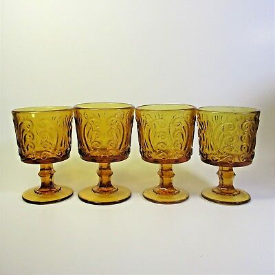 Imperial Glass AMBER SCROLL Wine Glasses Set of 5 Atterbury Scroll Glass