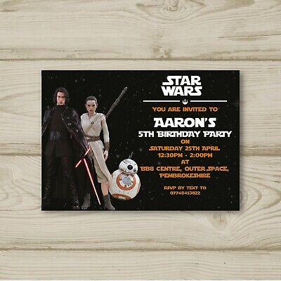10 Personalised Birthday party invitations Star Wars Skywalker Rey Kylo Ren BB8