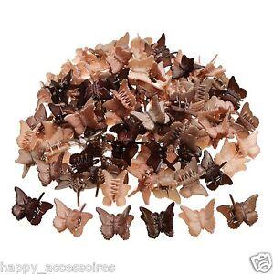 12 süße mini Schmetterling Haarkrebse Haarklammer Haarspange - Erdtöne - Neu