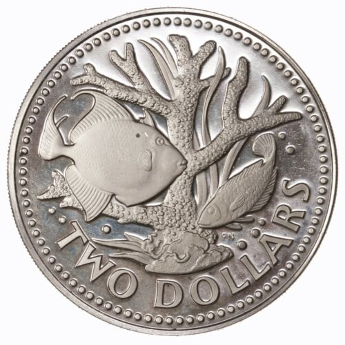 Raw 1973 Barbados Two Dollars Proof Coral Reef Fish