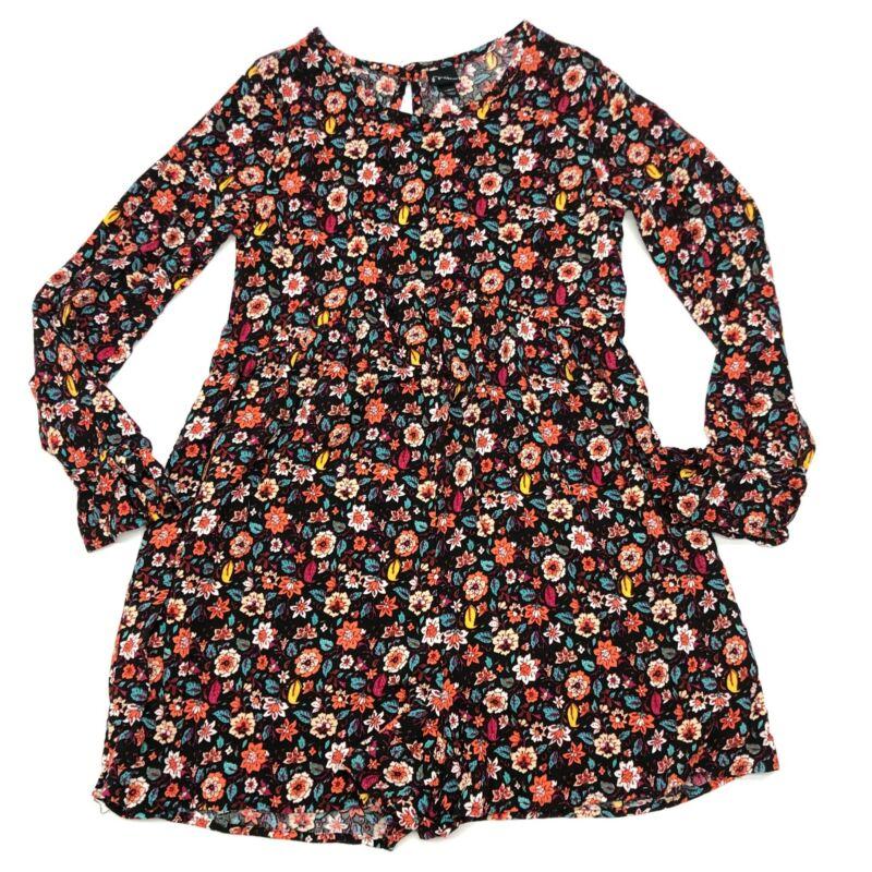 Art Class Black Floral Playsuit Romper Sz Large 10-12 Girls Ruffle Long Sleeve