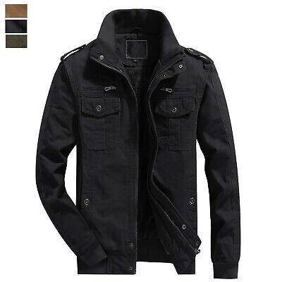 Men's Winter Casual Thicken Field Jacket Fleece Lined Cargo Coat Bomber Outwear