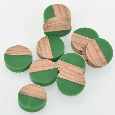 2 Wood Resin Beads, Round Flat Coin, Green Resin and Real Wood, 15mm, bwd0011 ()