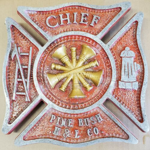 Pine Bush (NY) Hose and Ladder Co Maltese Cross with Fire Chief Bugles Sign