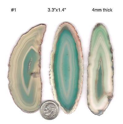 Choice: 1 group 3 slices of agate rock dyed green polished stone on Rummage