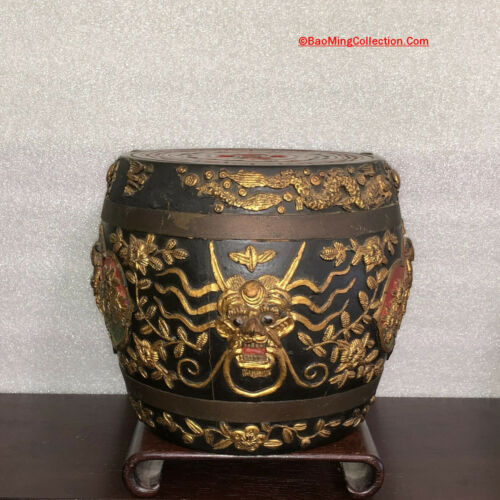 Southeast Asia Chinese FooChow Applied Lacquer Wood Storage Jar Tobacco Tea Rice