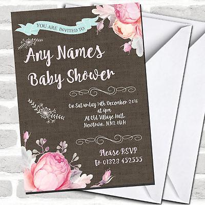 Pretty Floral Burlap Girls Invitations Baby Shower Invitations