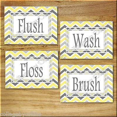 Yellow and Gray Chevron Zigzag Print Picture Wall Art Bathroom Bath Floss Flush+