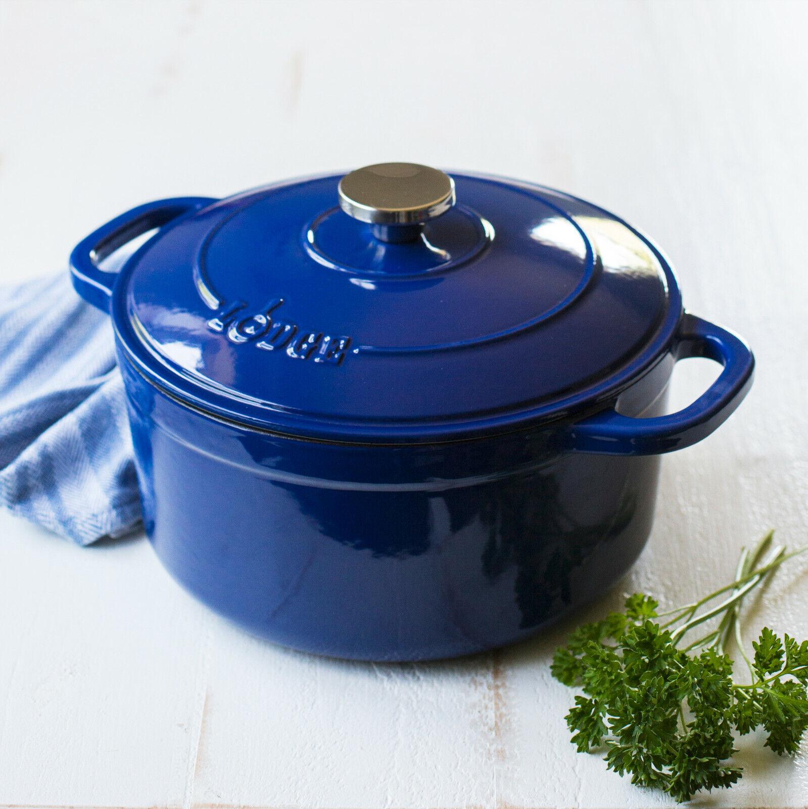 Lodge Enameled Cast Iron 5.5 Quart Dutch Oven Cookware Pot,