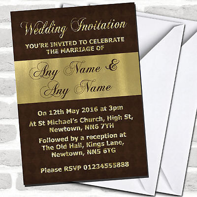 Brown And Glitter Look Gold Wedding Invitations Brown And Gold Wedding Invitations