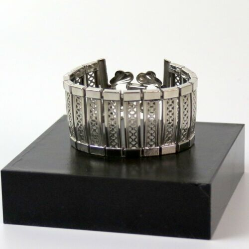 Vintage Silver Tone Wide Panel Bracelet with Safety Chain