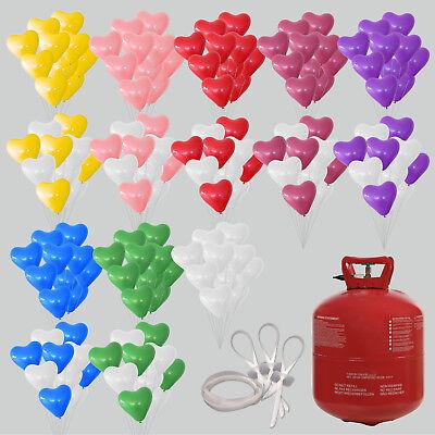 50/100 Herz Luftballons mit Ballongas Hochzeit Helium Verschlüsse Herzballons (100 Helium Luftballons)