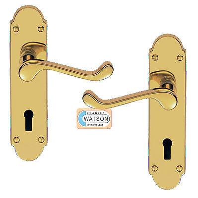 (CARLISLE BRASS DL168 Polished Brass Oakley Lock Door Handle Lever)