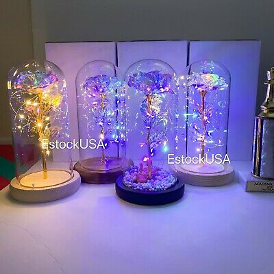 crystal Galaxy rose in the glass dome 20 led lights gift for