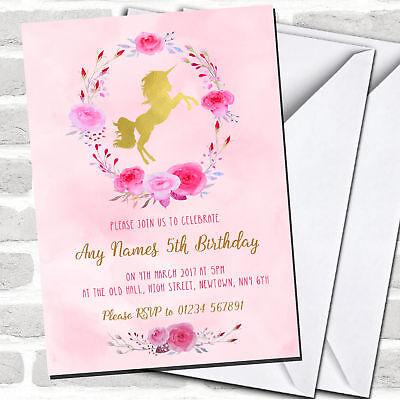Pink Watercolour Unicorn Girls Children's Birthday Party Invitations](Kids Invitations)