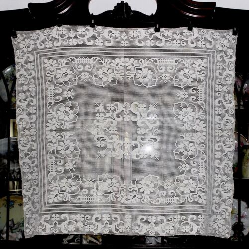 Antique Vintage French Country Filet Crochet Net Lace White Tablecloth Topper