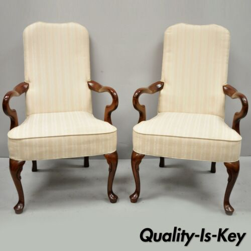 2 Vintage Queen Anne Gooseneck Cherry Wood Office Lounge Arm Chairs by Fairfield