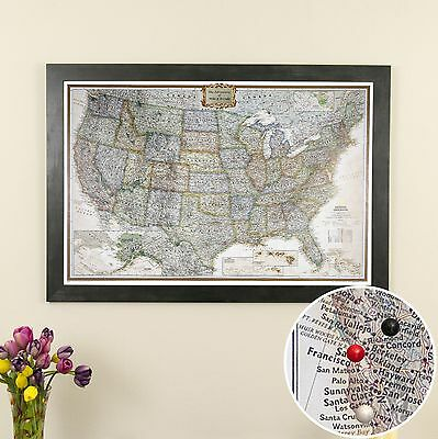 Executive Us   Travel Map With Pins   Wander The Usa   Great Wedding Gift