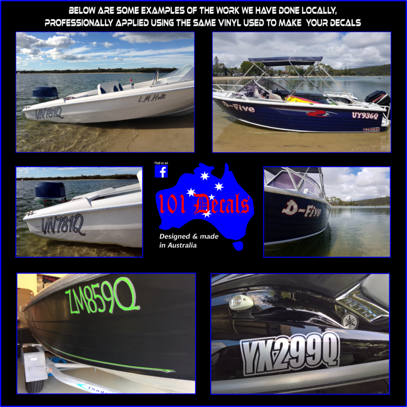 2x150mm QLD,NSW BOAT TINNY REGISTRATION numbers lettering sticker decals.2colour
