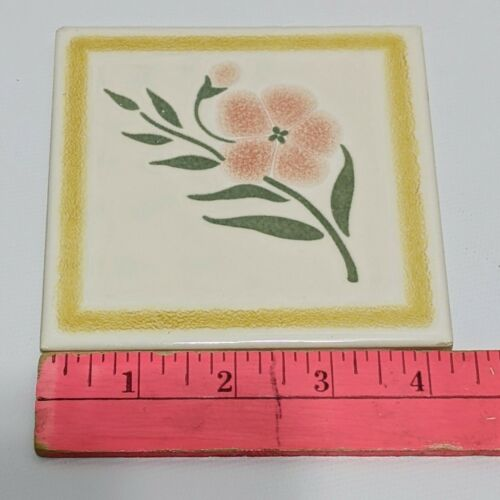 4 X Wenczer W Decorative Ceramic Tile 4.25 Across Floral Vintage - $24.99