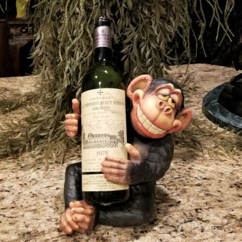 Boozy Chimpanzee Drunk Monkey Wine Bottle Holder Figurine