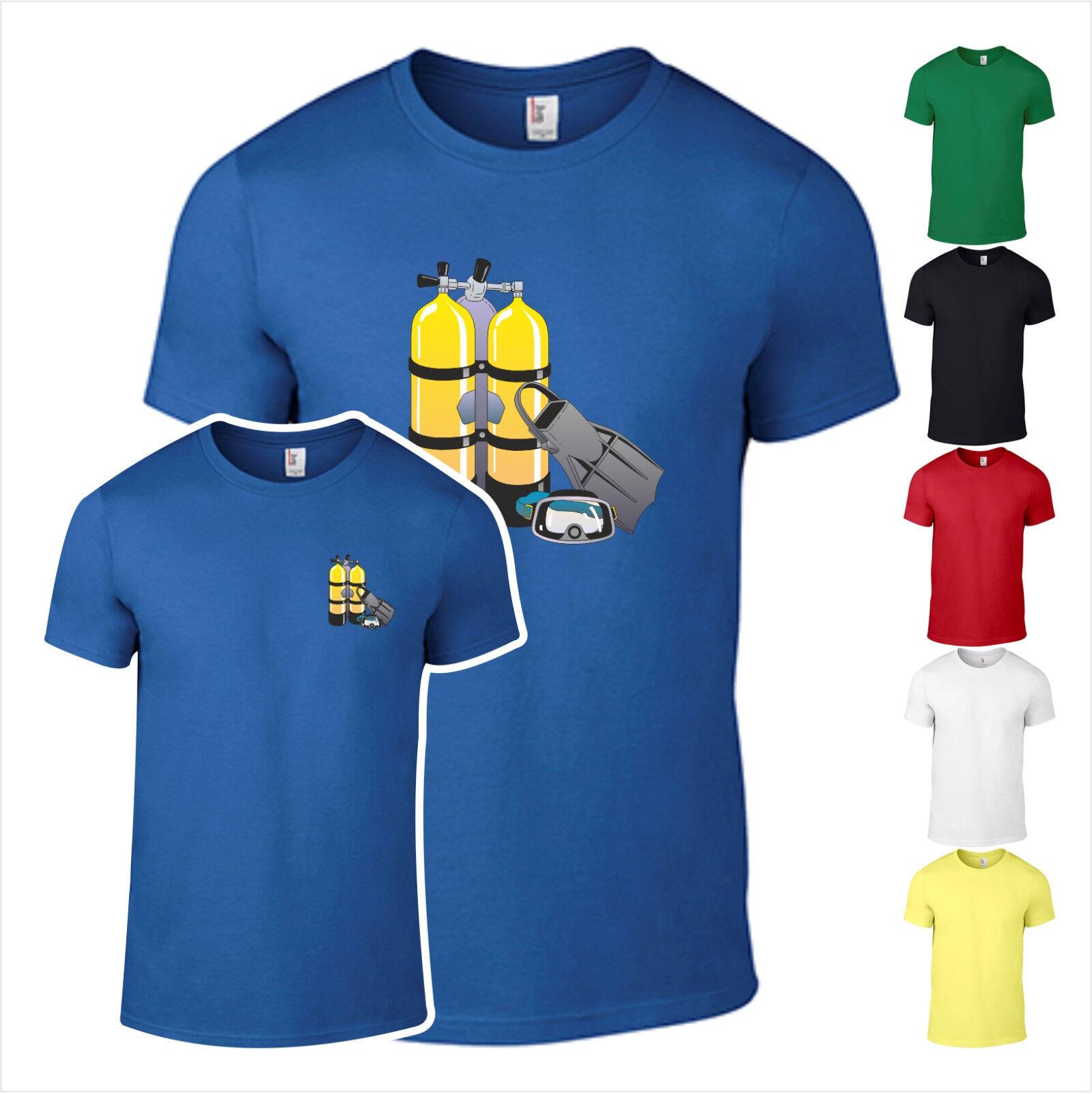 T-Shirt Taucher Tauchsport Sauerstoff Flaschen Tauchen  Schnorcheln bedruckt
