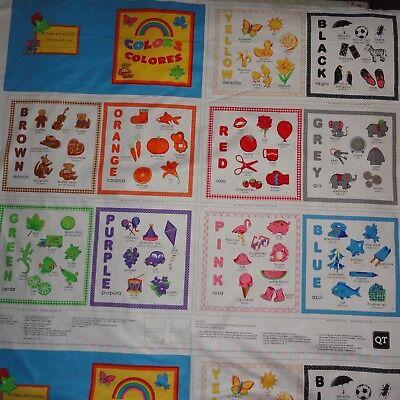 Educational  English And Spanish Alphabet  Elementary Translation  Cotton Fabric