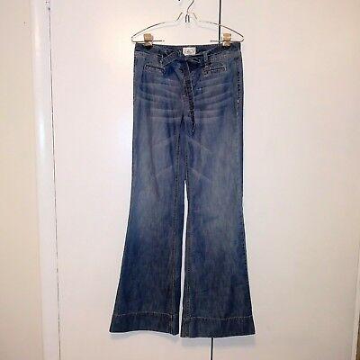 White House Black Market Women's Wide Leg Belted Trouser Denim Jeans Size 4 ()