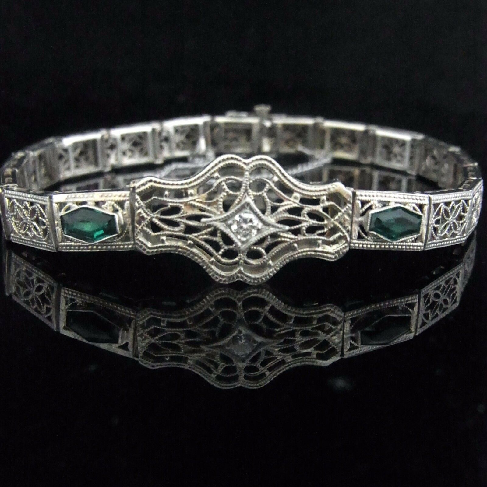 0601c6ec02050 Art Deco Transition Cut Diamond Lab Emeralds 14k White Gold Bracelet ...