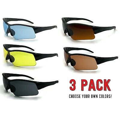 3 Pack Lot HD NIGHT Sports Day Time Blue Blocker Sunglasses Wrap Driving (Blue Clip On Sunglasses)