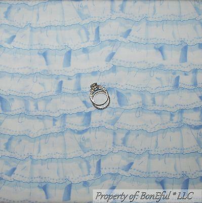BonEful Fabric FQ Cotton Quilt White Blue Baby Boy Ruffle Stripe Nursery Shower (Michaels Baby Shower)