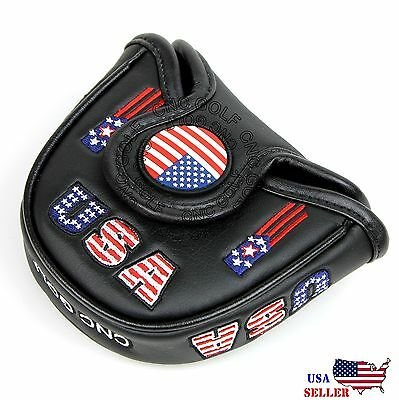 (USA AMERICA MALLET BLACK Putter Cover Headcover For Scotty Cameron Odyssey 2ball)