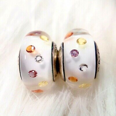 2 Authentic Pandora Murano Silver 925 ALE Multi-Color Bubble CZ Charm Beads #232