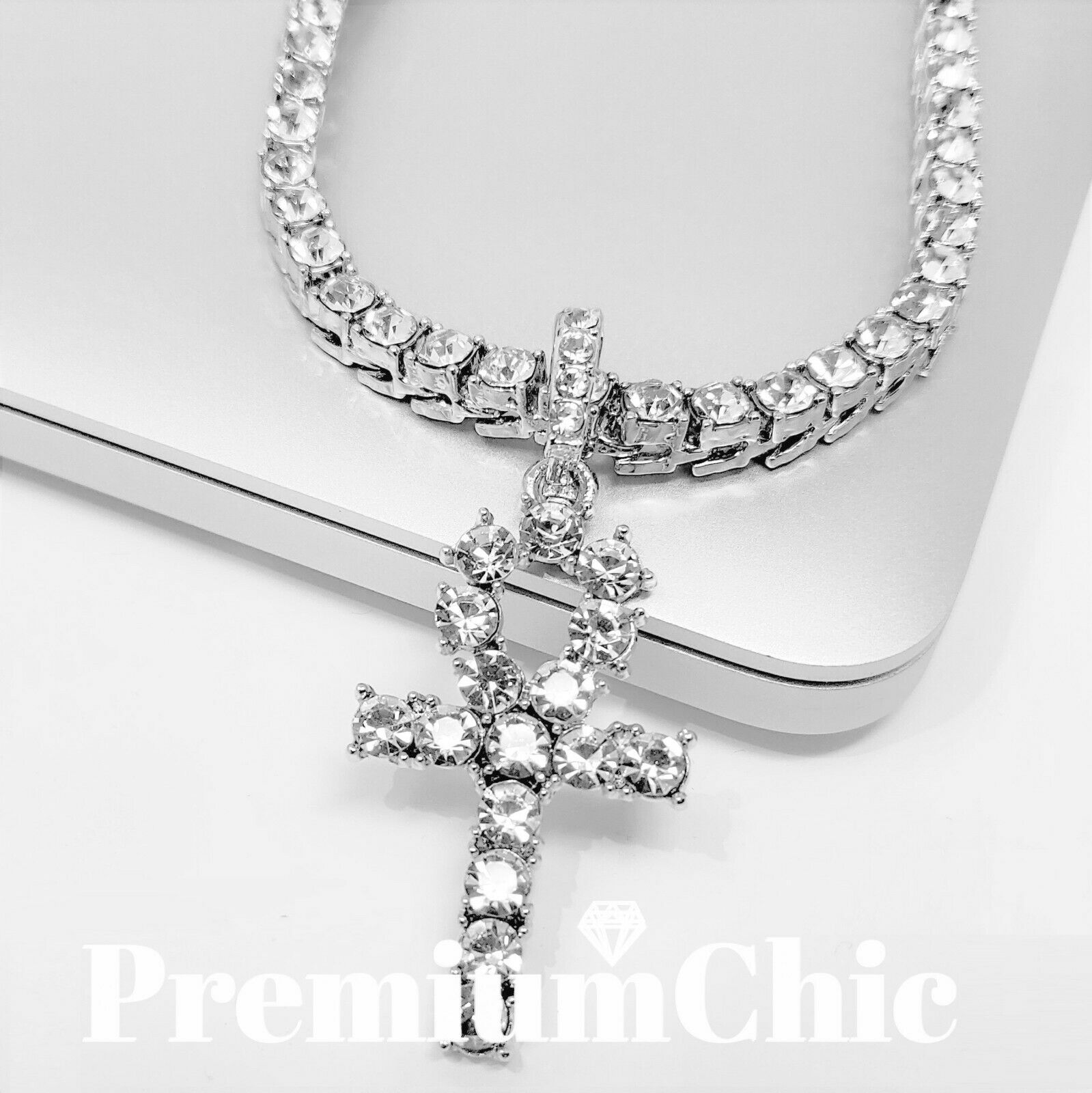 Jewellery - ANKH Cross Pendant Tennis Chain 14K Silver Gold Rose Hip Hop Bling Necklace