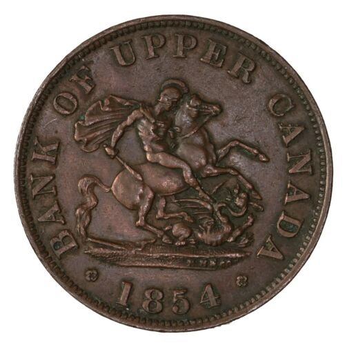 Raw 1854 Bank Of Upper Canada Half Penny Token