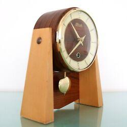 HERMLE Mantel Clock ICONIC! Collectors Item! Wood/Brass Vintage Pendulum Germany