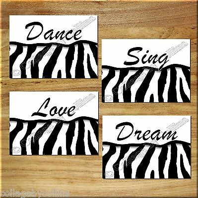 ZEBRA Print Wall Art Decor Dance Sing Dream Love Quotes Girl Bedroom Inspiration, used for sale  USA