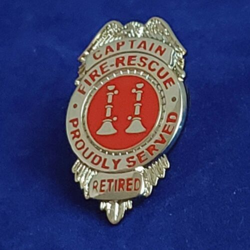 """1"""" RETIRED FIRE-RESCUE CAPTAIN BADGE PIN.    Item #75"""