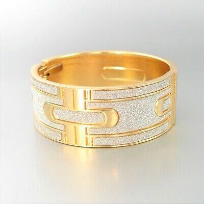 Sandblast Bangle Gloss Metal Hinge Fashion Bracelet Women Ladies -
