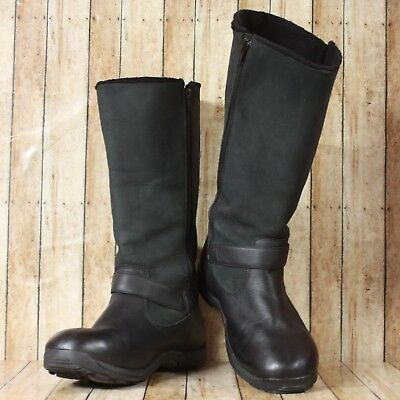 Baffin Charry Bell Tall Leather Zip Boots Womens Size US 9 Black ()