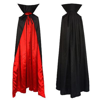 Vampir Umhang mit Stehkragen Cape schwarz rot für Erwachsene 1,6m lang Mantel
