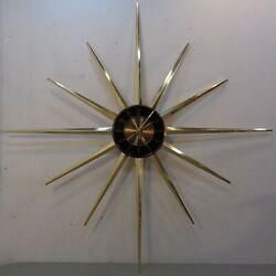Vintage 1960's Mid Century Modern Large 36 Elgin Starburst Sunburst Wall Clock