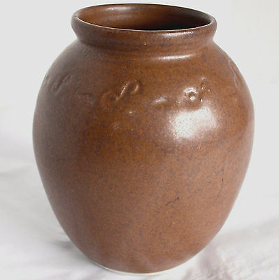Hand Thrown Pottery Stoneware Brown Vase Candy Coin Ginger Jar Pencil Holder JT