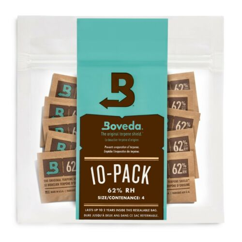 Boveda 62% RH 2-Way Humidity Control | Size 4 Protects Up to 1/2 Oz | 10-Count