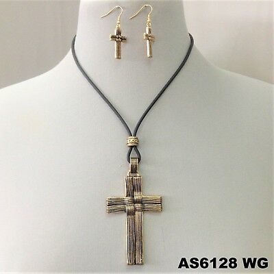 Black Cord Religious Cross Pendant Design Gold Finished  Necklace & -